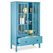 details about blue 2 glass door storage display cabinet home living room furniture office den