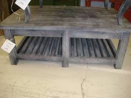 rustic pine coffee table with square legs and shelf