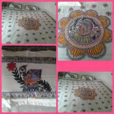Mithila Painting Bed Sheet Design Madhubani Painting In Bed Sheet Handmade Madhubani