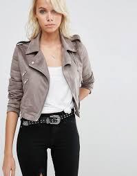 asos asos faux suede biker jacket women grey