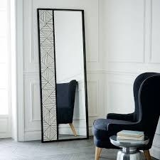 Black and White Triangle Bone Inlay Floor Mirror