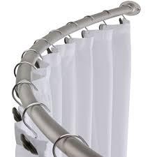 Brushed Nickel Curved Shower Curtain Rod Bath Area Bathtub ...
