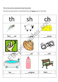 These handy th worksheets are a fun and easy easy way to teach children about the words. Ch Sh And Th Digraphs Esl Worksheet By Kebabsalad