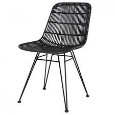 black wicker dining chairs. HK Living Rattan Dining Chair Black - Wicker Chairs Y