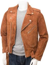 men s tan suede biker jacket ss open