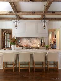 brick backsplash ideas. Open #kitchen With Brick And Rustic Beams. #design Backsplash Ideas B