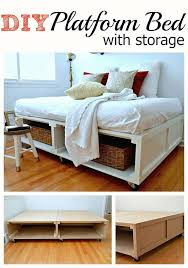 diy platform bed with storage for baskets