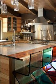 cool kitchen designs. Furniture:Cool Kitchen Design With Large Brown Wood Island And Colorful Glass Bar Stools Cool Designs