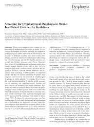 Screening for Oropharyngeal Dysphagia in Stroke: Insufficient ...