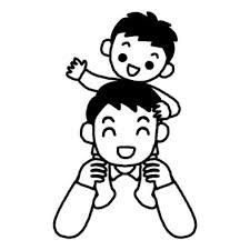 肩車父の日夏の季節6月の行事無料白黒イラスト素材
