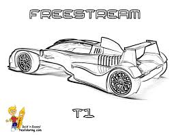 Freestream Formula One Car Coloring Page Side View At