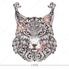 рисунки рысь тату голова рыси декоративные татуировки векторное