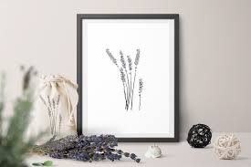 bunch of lavender flowers in a dark frame printable wall art for living room