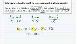 aleks solving a word problem with three unknowns using a linear equation