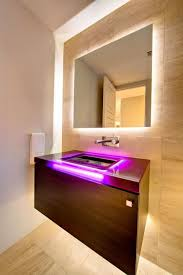 led lights with wooden floating vanity for modern bathroom ideas