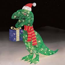 trim a home 32 105ct icy dinosaur holding presents