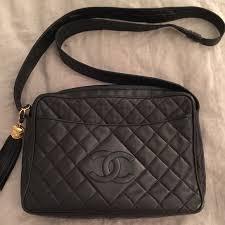 chanel vintage bag. chanel vintage black quilted camera bag w/ tassel