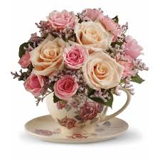 teleflora s victorian teacup bouquet send warm wishes with this lovely gift bouquet that arrives in