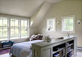 half wall bookshelf bedroom farmhouse with vaulted ceiling