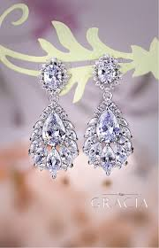 melaina chandelier wedding dangle drop cz vintage style crystal bridal earrings by topgracia