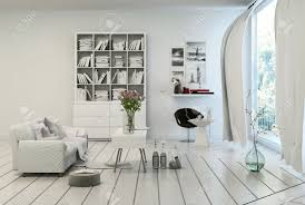 Modern White Furniture For Living Room Compact Modern White Living Room Interior With White Painted