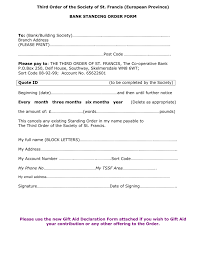 Banking Standing Order Form