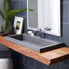 trough 3619 concrete top mount sink in slate
