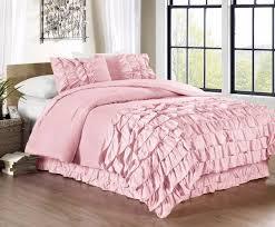 com chezmoi collection ella 2 piece ruffle waterfall comforter set twin pink home kitchen