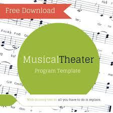 Free Musical Theater Program Template Program Template