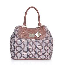 Coach Embossed Logo In Monogram Medium Coffee Satchels CEL