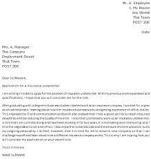 Insurance Underwriter Cover Letter Sample Lettercv Insurance Job