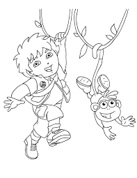 You can follow the steps: Dora And Diego Coloring Pages Coloring Home
