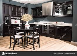 wooden furniture for kitchen. Interior Modern Kitchen Dining Room Black Wooden Furniture Vase Dried \u2014 Stock Photo For R