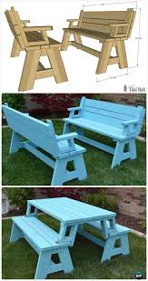 Outdoor furniture ideas Pinterest Diy Convertible Picnic Table And Bench Free Plan Instructions Diy Outdoor Patio Furniture Ideas Diy How To Diy Outdoor Patio Furniture Ideas Free Plan picture Instructions