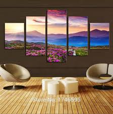 >for living room wall art decor home decoration sunset mountain  for living room wall art decor home decoration sunset mountain flowers landscape print canvas wall art picture painting pt0458 in painting calligraphy