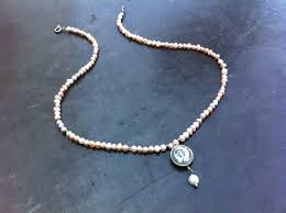pale pink pearl necklace greek style pendant necklace shabby chic jewelry matt silver