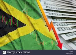 Jamaican Currency Chart Jamaica Flag And Chart Falling Us Dollar Position With A Fan