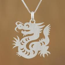 sterling silver pendant necklace chinese zodiac dragon