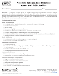 Accommodation And Modifications Parent And Child Checklist