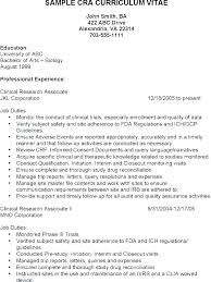 Samples Of Entry Level Resumes Interesting Sample Resume Clinical Research Associate Contract Job Positions In