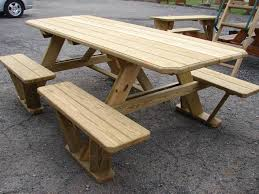 split bench wooden picnic table