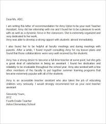 teacher letter of recommendation recommendation letter for teacher assistant miscellaneous
