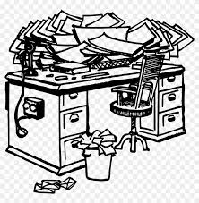 office desk clipart black and white. Modren And Messy Office Desk Clipart  Throughout Black And White N