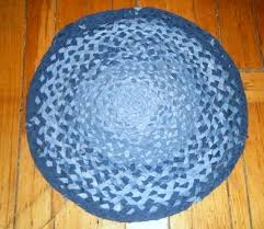 recycled blue jeans into round braided rug