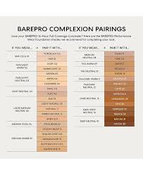 Bare Minerals Foundation Shades Chart Barepro Performance Wear Powder Foundation