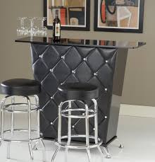 small home bar furniture. Black Front Fabric Upholstery Home Bar Cabinet Designs With Glossy Surface Under Three Glasses And Two Wooden Framed Paintings Also Stools In Small Furniture