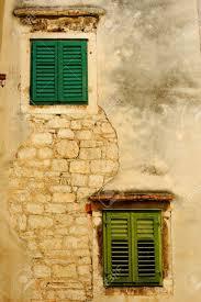 Zwei Grüne Fenster An Der Wand Haus Des Alten Ibenik Kroatien