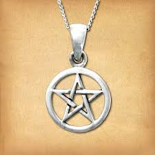silver small pentacle pendant pagan