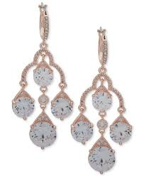 anne klein women s metallic crystal chandelier earrings