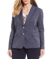 Tahari Outerwear Size Chart Tahari Asl Plus Size Dressy Stretch Denim Two Button Jacket